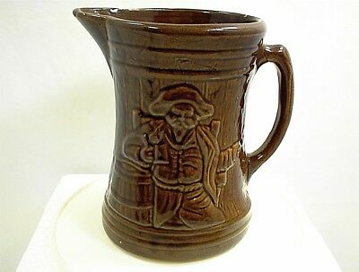 Vintage Mccoy Brown Pirate Pitcher Stoneware Beer Tavern Pottery