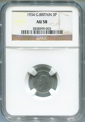1934 Great Britain 3 Silver Pence, NGC AU 58.