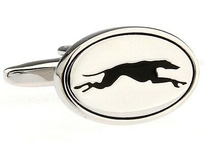 Greyhound Cufflinks Silver Racing Derby Wedding Fancy Gift Box Free Ship USA
