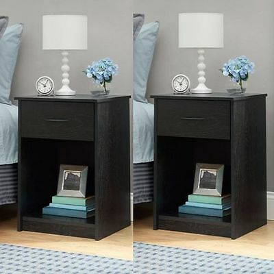 SET OF 2 Nightstand End Tables Bedroom Furniture Shelf Drawer ASSORTED  Colors. SET OF 2 Nightstand End Tables Bedroom Furniture Shelf Drawer