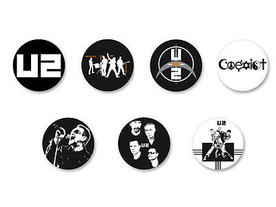 Lot Pack Badge Button Ø25mm U2 Rock BONO The Edge