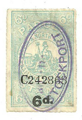 6D London & North Western Railway Company Parcel Stamp Stockport In Violet