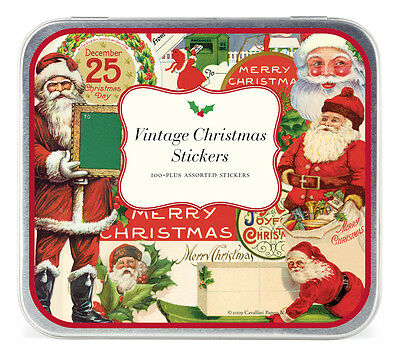 Cavallini - Tin of Decorative Stickers - Father Christmas - Vintage (HOLVIN)