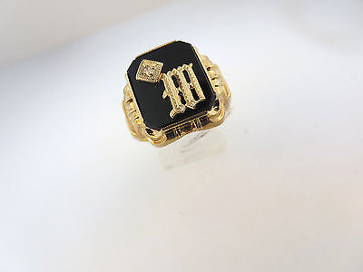Art Deco Old English Script M 10K Rose Gold Sz 11 Ring  Diamond Accent Blk Onyx