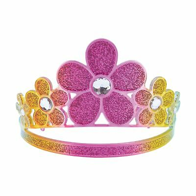 GLITTER RAINBOW FLOWER PRINCESS CROWN GEM FAIRYTALE - fancy dress accessory