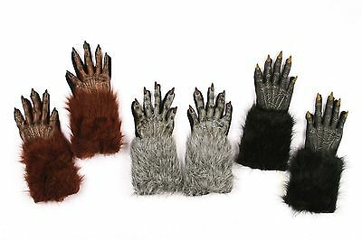 Werewolf Gloves Wolf Evil Fur Halloween Adult Costume Accessory Brown Gray Black