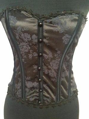 Sexy Coquette Flower Brocade Bustier With Buttons Lingerie Women Ladies Adult