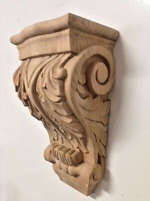 Hand Carved Cherry Wood Corbel Acanthus Leaf Design Stain Grade Bar Corbel