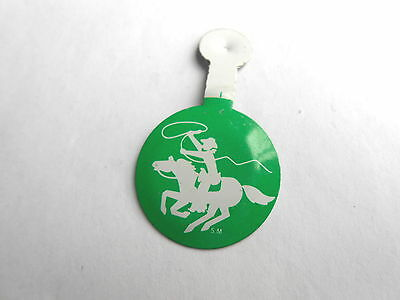 Western Vintage Cowboy with Lasso Riding Horse Back  Foldover Tab Top Pinback