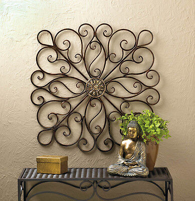 "Wrought Iron Scrollwork Wall Decor 36"" Tall New~10016153"