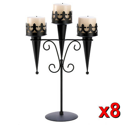8 Gothic Black Triple Pillar Candleholder Stand Centerpieces Decor New~14114