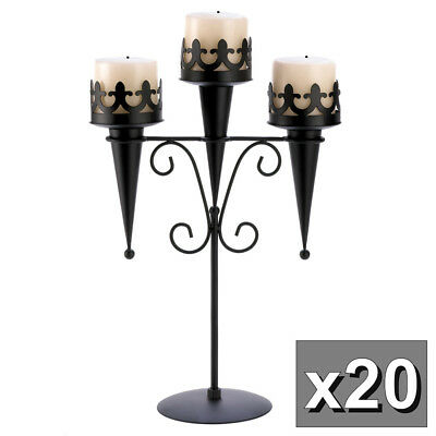 Lot of 20 Black Iron Medieval Style Triple Lantern Candle Stands