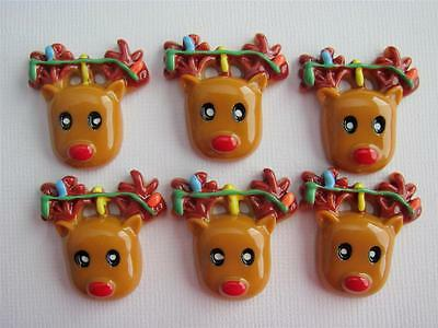 BB FLATBACKS REINDEER WITH LIGHTS pk of 6 CHRISTMAS cabochons resin flatback