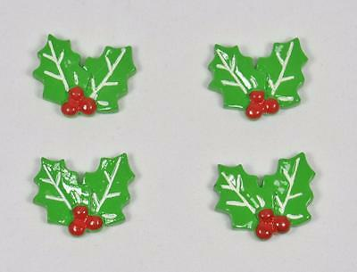 BB FLATBACKS HOLLY LEAVES pk of 4 CHRISTMAS cabochons resin flatback xmas