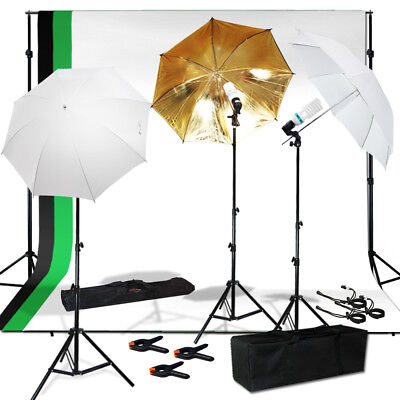 Photo Studio Photography Kit 3 Light Bulb Umbrella Premium Muslin 3 Backdrop Set