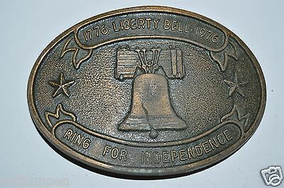 WOW Vintage Aged Liberty Bell 1976 Patriotic USA Brass Tone Belt Buckle Rare
