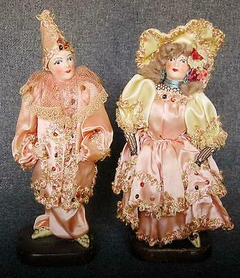Fabulous Antique French All Original Pierrot And Pierrette Boudoir Dolls
