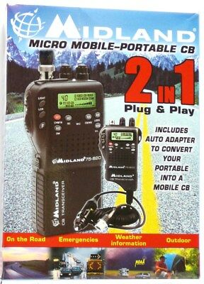 75-822 MIDLAND 40-Channel Handheld CB/Weather Radio with mobile adapter