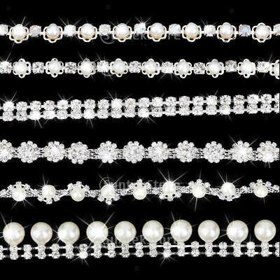 1yd Stunning Beaded Crystal Diamante Pearl Chain Ribbon Bridal Wedding Trimming