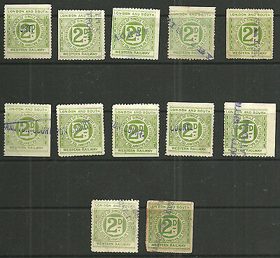 Lot Of 12 London And South Western Railway 2D Railway Letter Stamps Cancelled