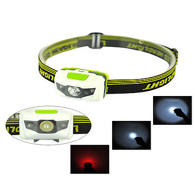 LED Headlamp White + Red Flash Light Headlight Head Torch Camping Hiking Lamp