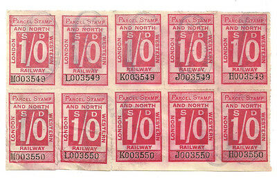 Block Of 10 1/- London And North Western Railway Parcel Stamps Kenilworth 1907