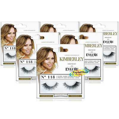 6d05aef6e82 6x Eylure Kimberley Lengthening No.118 Sleek Dark Tipped False Eyelashes