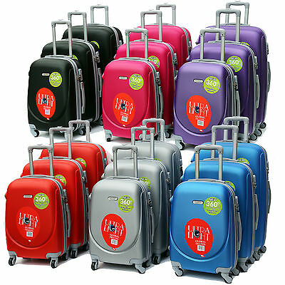 Set Of 3 Matching Hard Abs Suitcases Carry On Luggage Hand 4 Wheeled Spinner