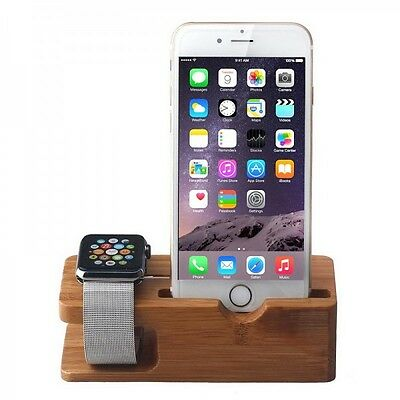 Bamboo Lade Station Für Apple Watch Uhr 38mm 42mm Halterung Dock Dockingstation