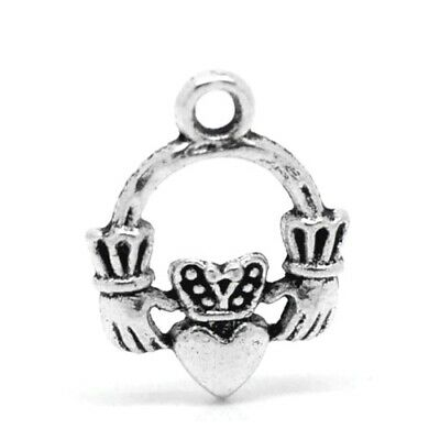 Celtic Claddagh Ring Charm/Pendant Tibetan Antique Silver 18mm  4 Charms Crafts