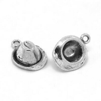 Cowboy Hat Charm/Pendant Tibetan Antique Silver 17mm  12 Charms Accessory Crafts
