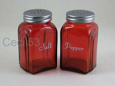 RED w WHITE LETTERS GLASS SALT PEPPER SHAKERS 4 INCH RANGE TOP ROMAN ARCH