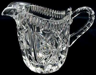 Vintage Crystal Glass Creamer Pitcher ~ Star & Thumbprint Pattern  ~
