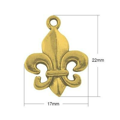 Packet 15 x Antique Gold Tibetan 22mm Fleur De Lis Charm/Pendant ZX10040