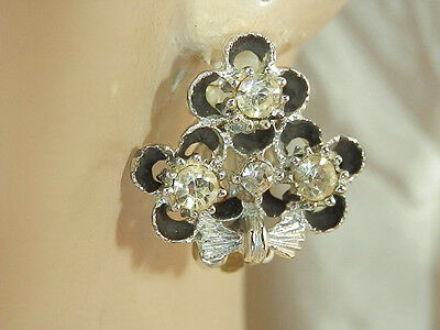 XXX FAB Vintage 50's Black Enamel Rhinestone Flower Earrings 51JL5
