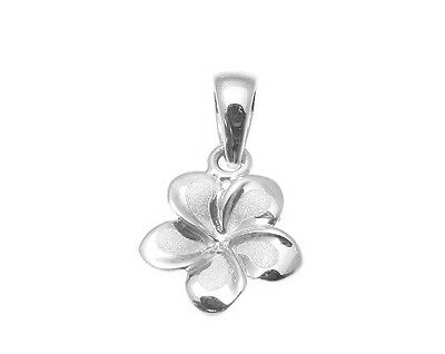 14K SOLID WHITE GOLD 9MM HAWAIIAN PLUMERIA TROPICAL FLOWER CLUSTER PENDANT CHARM