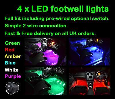 4 x LED footwell lighting kit includes switch Red Green Blue Purple Amber White