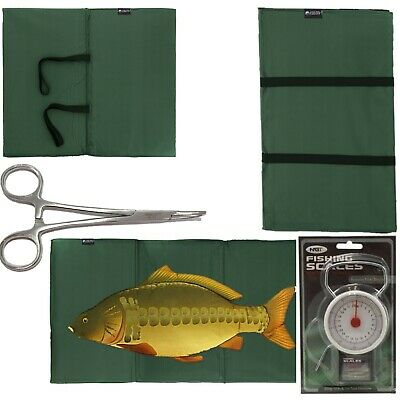 "NEW CARP FISHING UNHOOKING LANDING MAT + 50LB 22KG SCALES + 5"" Curved Forceps"