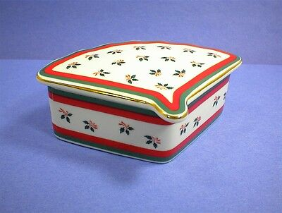 Vintage Lefton 2391 Box Red Green Holly Hand Painted Jewelry Dish Trinket