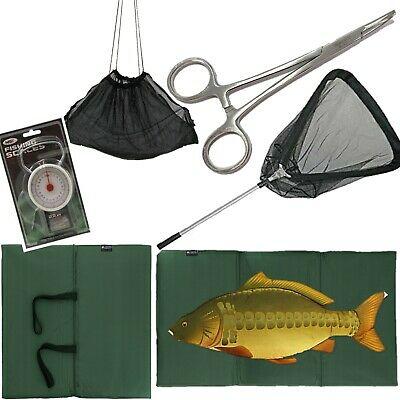 "FISHING UNHOOKING MAT + Folding Landing Net + 50LB SCALES + 5"" Forceps + Sling"