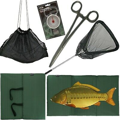 "FISHING UNHOOKING MAT + Folding Landing Net + 50LB SCALES + 8"" Forceps + Sling"