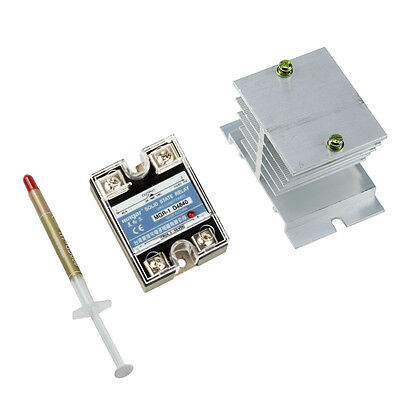 SSR-40A DC Control AC 110V 220V 240V Solid State Relay +Heat Sink+Thermal Grease
