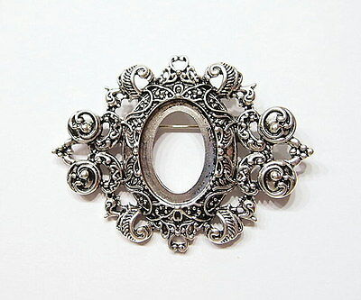 4 of 25x18 mm Antique Silver Art Deco Vintage Large Brooch Pin Pendant Settings