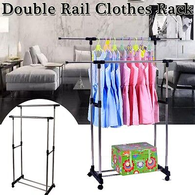 Adjustable Double Clothes Rail Hanging Garment Dress On Wheels With Shoe Rack