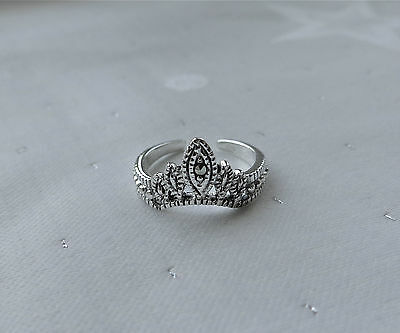 Marcasite Crown Tiarra Toe Ring 925 Sterling Silver
