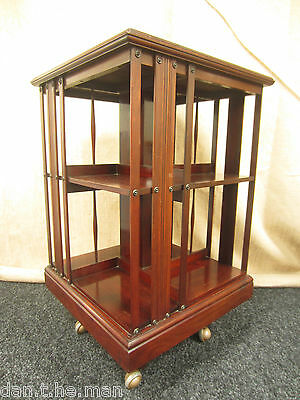 Edwardian Inlaid Mahogany Two Tier Revolving Bookcase