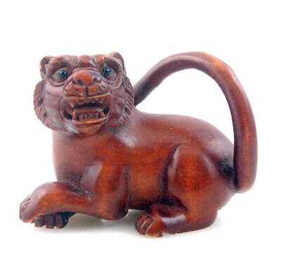 Boxwood Hand Carved Netsuke Sculpture Miniature Seated Tiger Long Tail #072015
