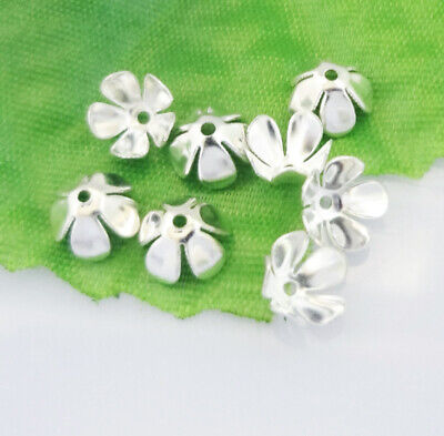 Hot 50pcs Silver plated Bead Caps End Caps NO Pattern Flower Hat Findings HT2-04