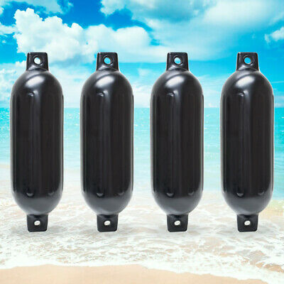 """4 NEW RIBBED BOAT FENDERS 6.5"""" x 23"""" BLACK TWIN EYE BUMPERS MOORING PROTECTION"""