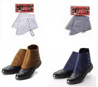 Gangster Spats Costume Accessory - White Grey Brown Blue Costume Accessory fnt